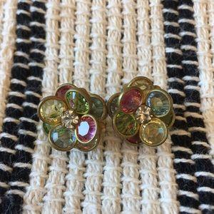 Anthropologie flower earrings multicolored